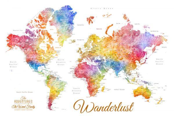 Watercolour World Map Art