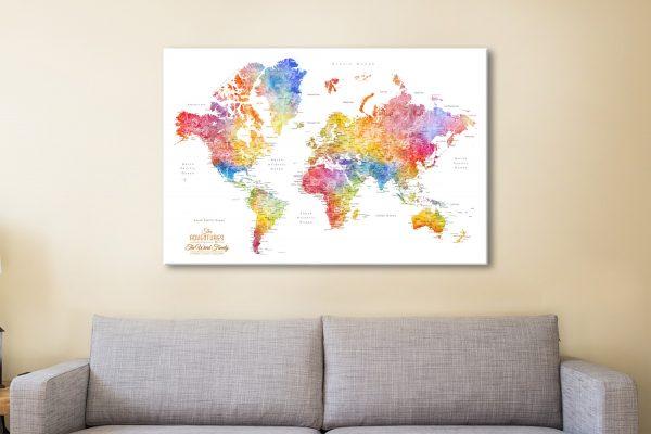 Watercolour Splash World Map Canvas Art Sydney