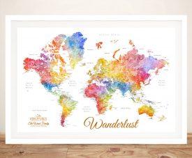 Watercolour Splash World Map Framed Wall Print