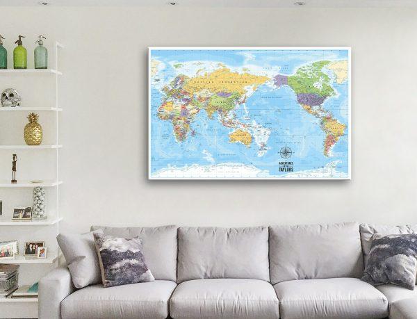 Pacific Centred Custom World Map Canvas Artwork