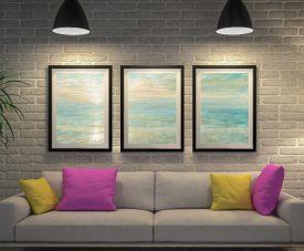Buy Sunset Triptych Art Canvas Print Set by Danhau Nai
