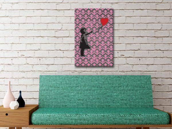 Banksy-Balloon Girl Pink Pattern Canvas Artwork