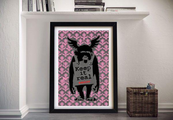 Banksy Keep it Real Pink Wall Art Print