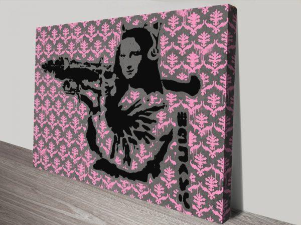 Mona Bazooka Banksy Pink Pattern canvas print