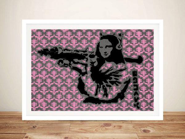 Banksy Mona Lisa Fleur-de-Lys Pink Patterned Wall Art