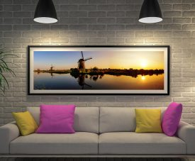 Sunset Windmill Framed Panoramic Canvas Art