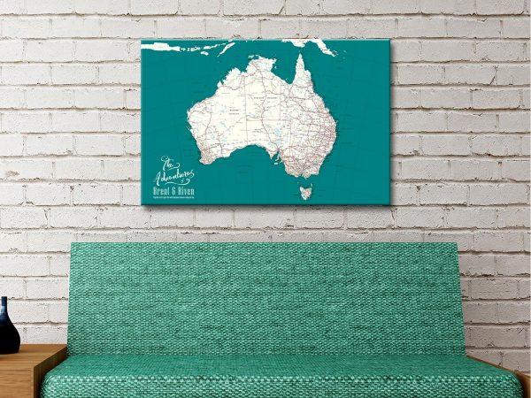 Custom Australia Canvas Artwork with Pins