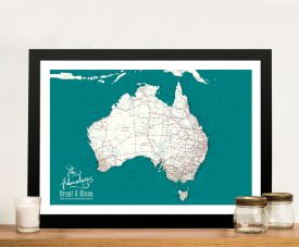 Australia Teal Custom Framed Wall Art