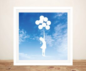 Buy Balloon Girl Sky White Banksy Style Wall Art