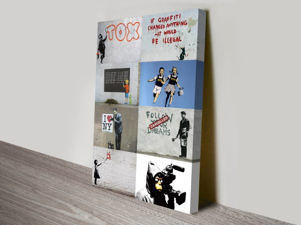 Buy a Cool Ready to Hang Banksy Collage Cheap Online