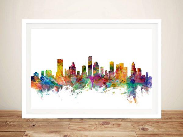 Buy Houston Texas Skyline Framed Canvas Art