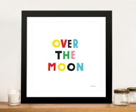 Buy a Cute Kids Wall Art Over the Moon Print