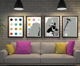 Buy a Split Panel Quad Set of Banksy's Roller Rat Print