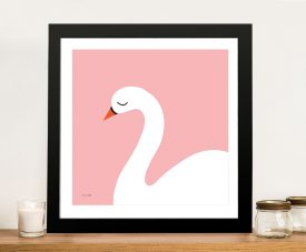Buy a Pretty Pink Swan Framed Canvas Print