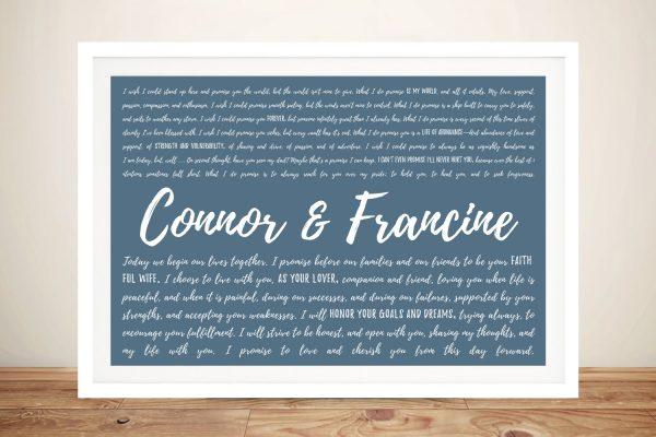 Wedding Vows Framed Wall Art