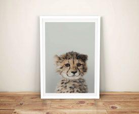 Buy a Cute Cheetah Cub Peekaboos Framed Print