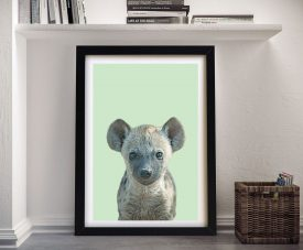 Buy a Cute Hyena Cub Ready to Hang Print