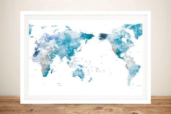 Buy an Australian Centered Ocean Tones World Map