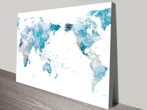 Buy a Ready to Hang Ocean Tones World Map