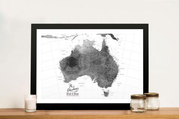 Buy a Custom Australia Black & White Push Pin Map
