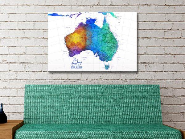 Buy Ready to Hang Watercolour Splash Maps of AU
