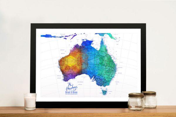 Buy a Custom Map of Australia in Blue Watercolour Tones