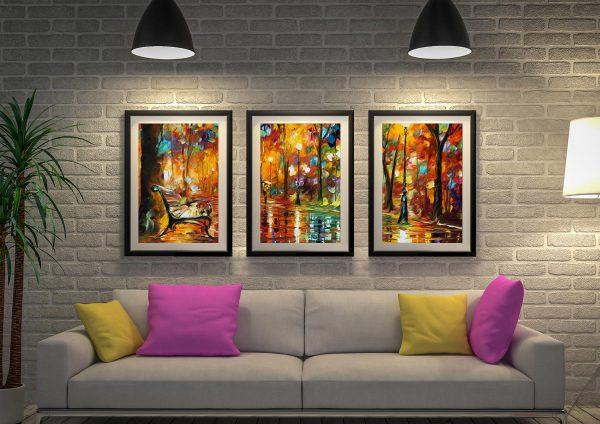 Buy Colourful Night Afremov Triptych Wall Art