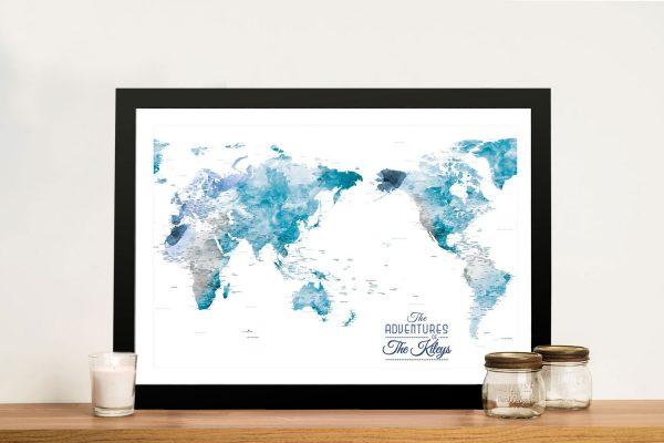 Buy Deep Ocean Tones World Map Wall Art