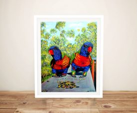 Buy Dinner Date Rainbow Lorikeets Canvas Art