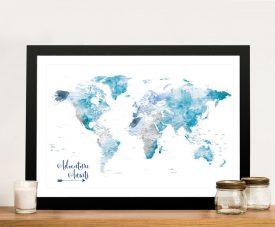 Buy a Framed Ocean Tones Push Pin World Map