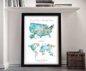 Buy Framed Dual USA & World Map