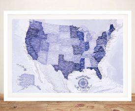 Framed Purple USA Custom Push Pin Map Artwork