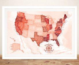 Buy Red Tones Pushpin Customised USA Travel Map