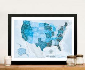 Blue Tones Push Pin Personalised USA Map Art Gift