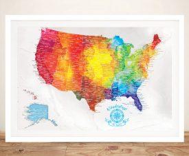 Multicoloured Customised Pinboard USA Map