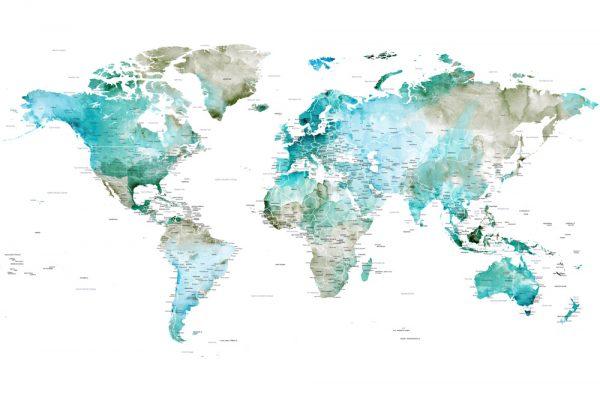 Buy a Pretty Watercolour World Map Print Online