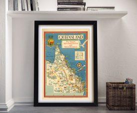 Buy a Vintage Framed Map Print of Queensland