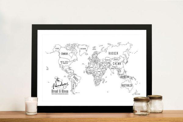 Personalised Chalkboard Push Pin Travel Map