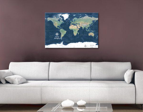 Buy Custom Dark Blue World Map Artwork AU