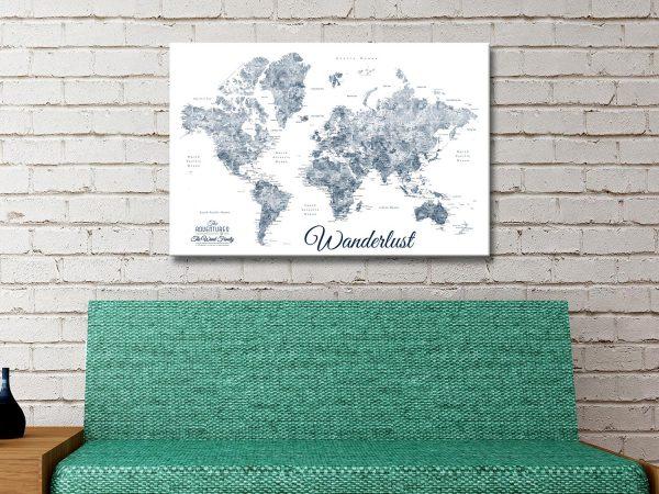 Buy Blue & White World Map Canvas Wall Art AU