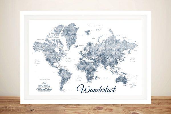 Buy Framed Wanderlust Blue & White Map Wall Art