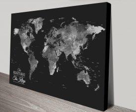 Buy Wanderlust Framed Black & Silver World Map