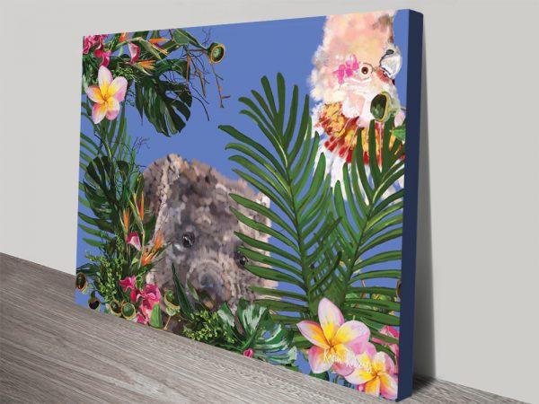 Buy Botanical Wombat Colourful Art on Canvas