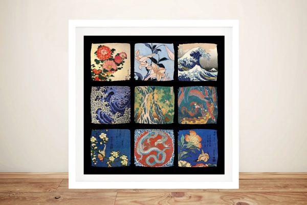 Buy Framed Canvas Hokusai Japanese Collage Art