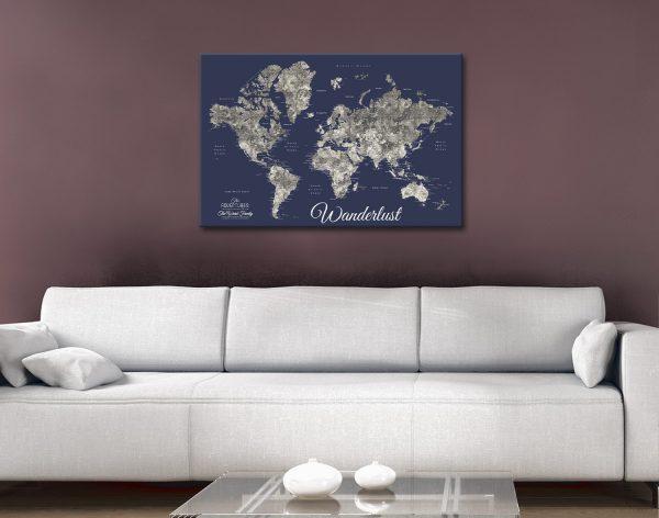 Buy Personalised Detailed Wanderlust Map Art AU