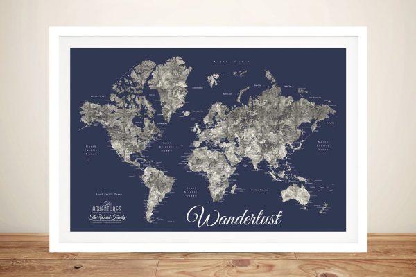 Buy Affordable Custom World Map Art in Navy Blue