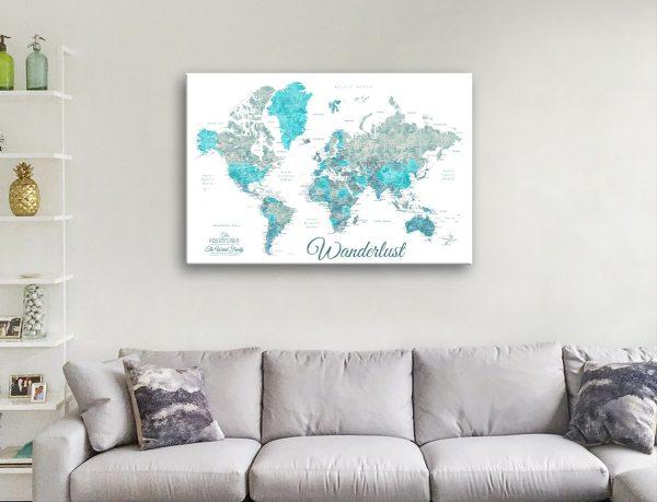 Buy Custom Ocean Tones Map Art Gift Ideas AU