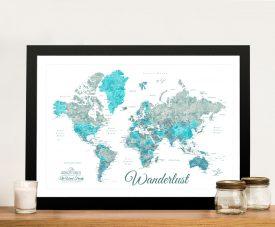 Buy Watercolour Custom World Map Wall Art