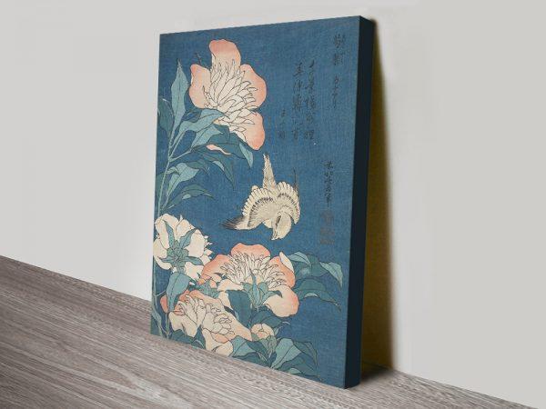 Buy a Ready to Hang Peonies & Canary Hokusai Print
