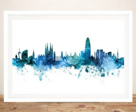 Buy Michael Tompsett Barcelona Skyline Prints